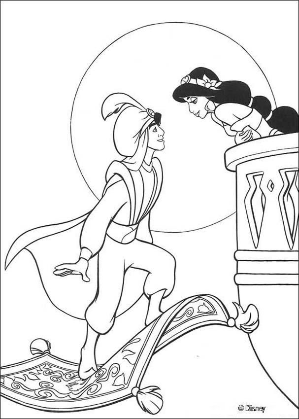 Coloring page about aladdin disney movie nice drawing of jasmine kissing aladdin more disney