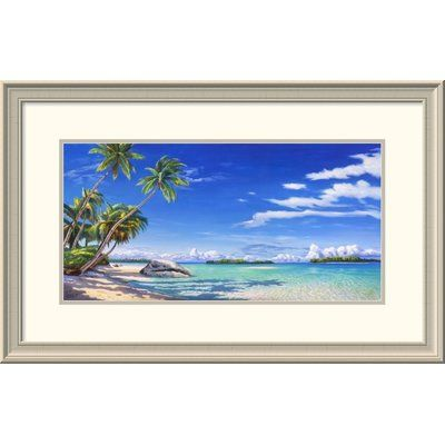 """Global Gallery 'Spiaggia Tropicale' by Adriano Galasso Framed Painting Print Size: 20"""" H x 32"""" W x 1.5"""" D"""