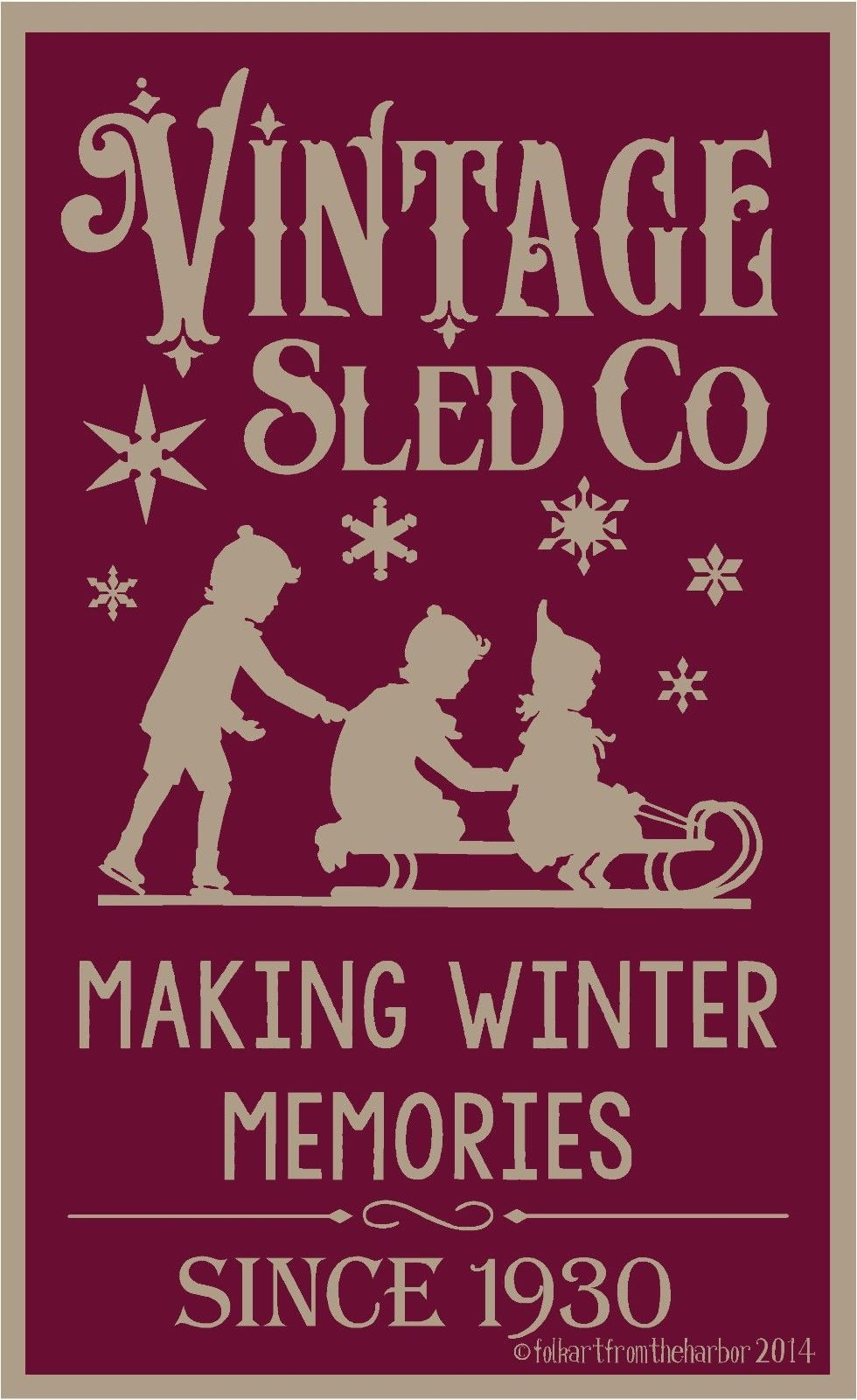 Primitive Stencil Vintage Sled Co 12x20 007 Mil Free Shipping Ebay Christmas Stencils Vintage Sled Christmas Graphics
