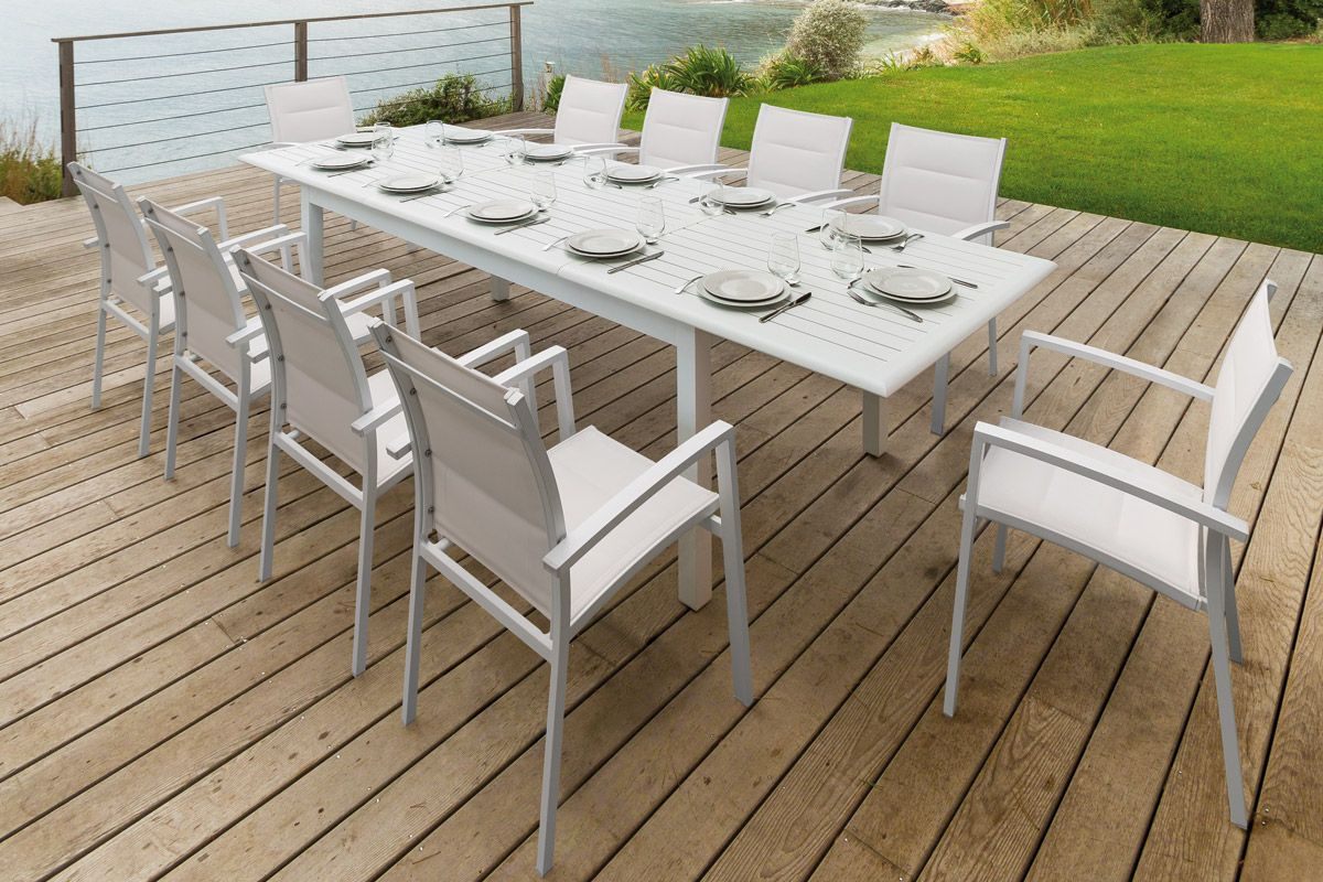 Table Extensible Azua Aluminium Blanche Outdoor Furniture Sets
