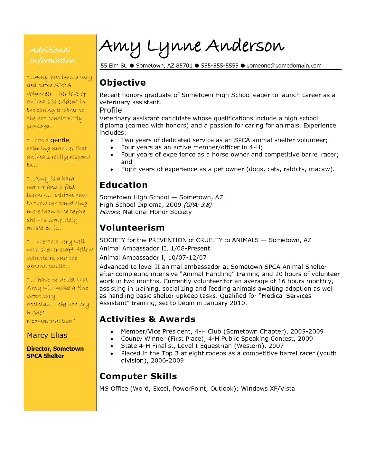 Download Resume Objective Examples For Teacher In Word Format
