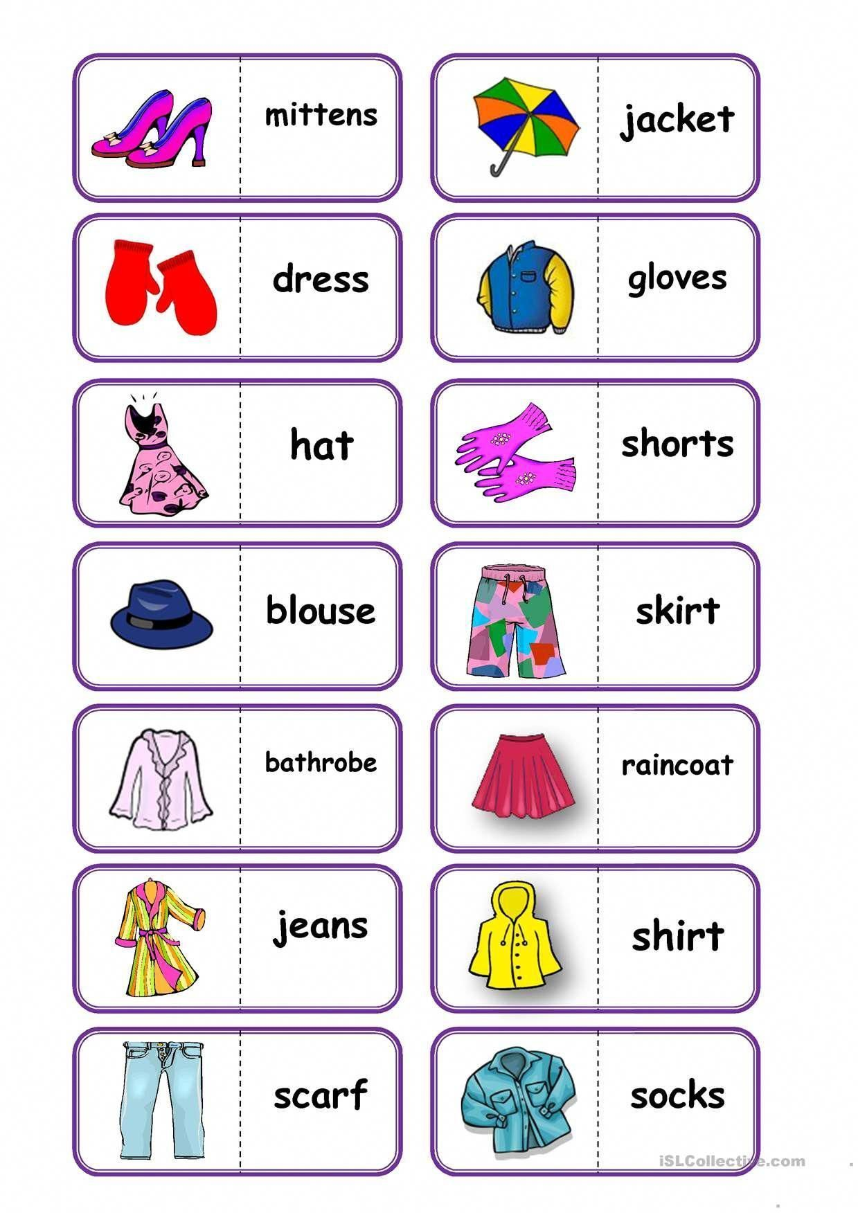 Clothes English Vocabulary Worksheets Clothes English