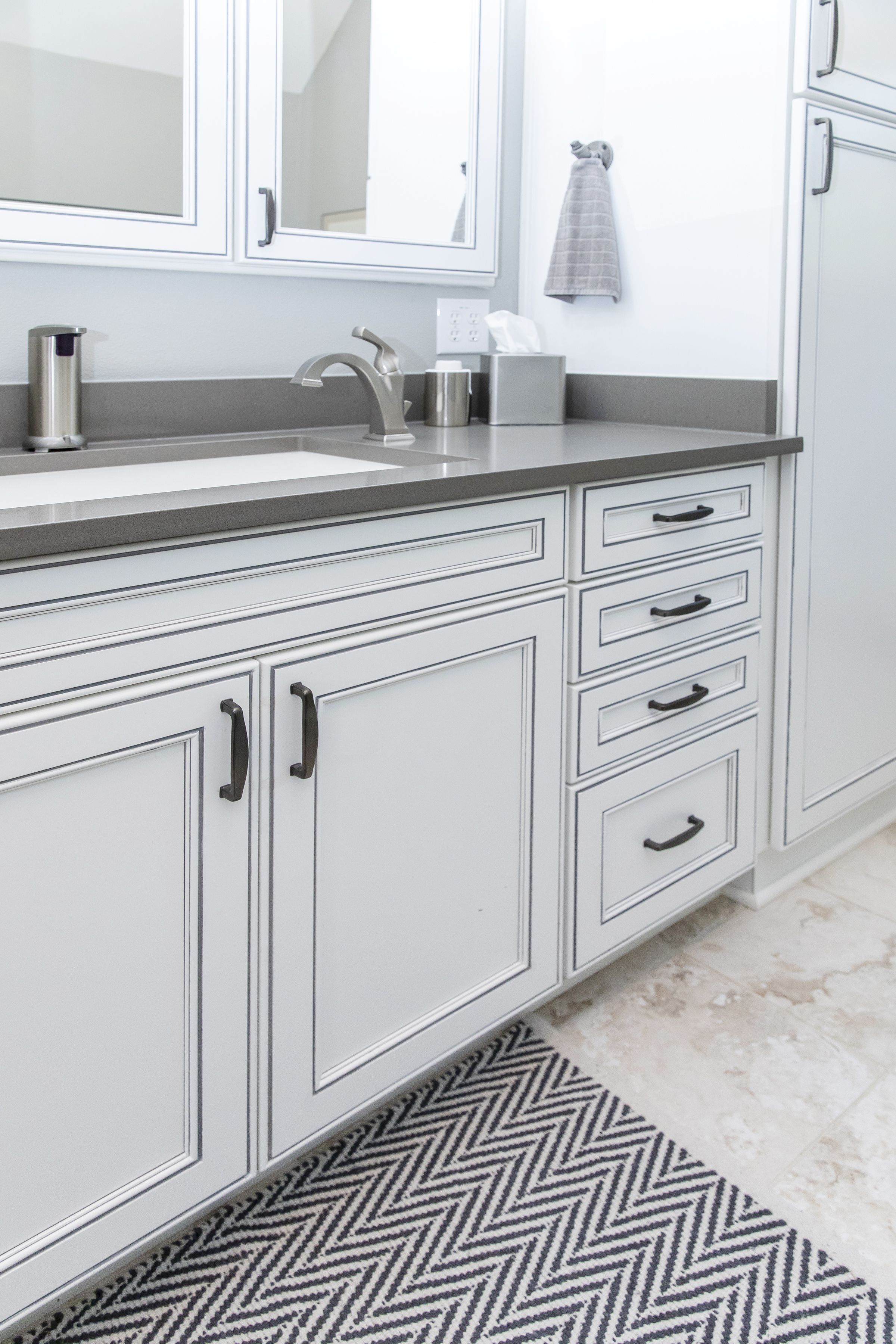 Pinstripe Cabinets In Gray On White Kichen Cabinets Kitchen Cabinets Makeover Kitchen Upgrades