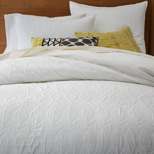 Organic Shadow Diamond Matelasse Duvet Cover Shams Textured