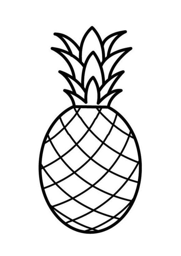 Fruit Pineapple Coloring Page Free Kasnak Sanati Aplike Sablonlari Boyama Sayfalari