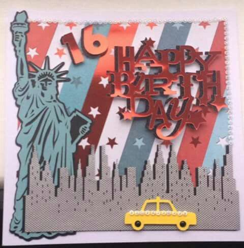 Cricut Sweet 16th New York Themed Birthday Card
