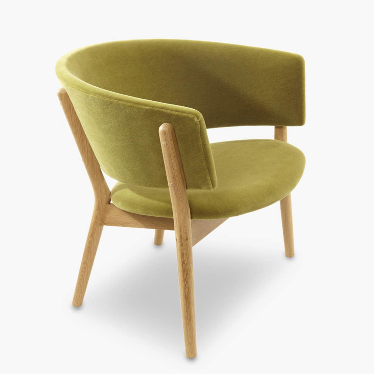 Nd83 Fabric Oak Olive Front Side 1200 Chair Danish Furniture
