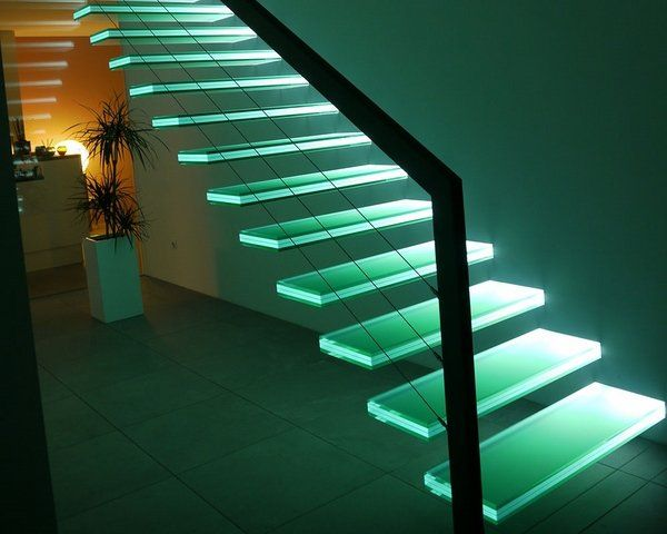 glass staircase design LED lights modern interior staircase ideas - küche wandpaneel glas