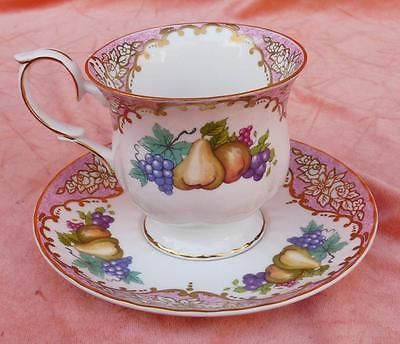 DUCHESS BONE CHINA FOOTED CUP & SAUCER SET ORNATE FRUIT FLOWERS GOLD TRIMS