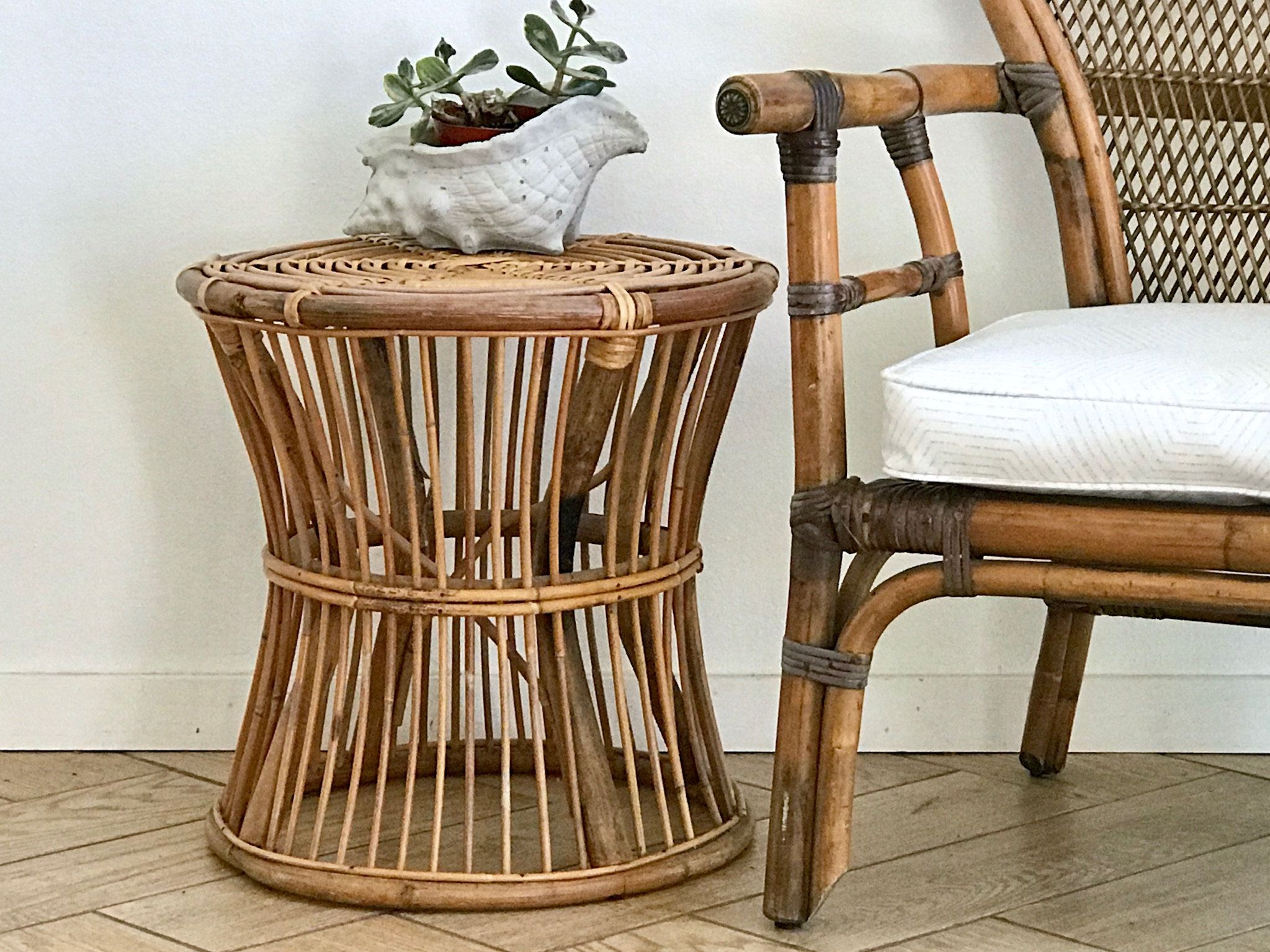 Spiral Bamboo Accent Table Round Woven Rattan Side Table Bamboo Plant Stand 70 S Wicker Plant Holder Bohemian Bambo Accent Table Rattan Side Table Wicker Table Bamboo Plants