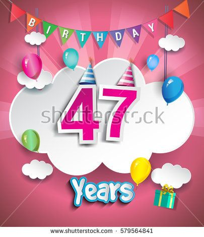 47 Years Birthday Design for greeting cards and poster, with clouds and gift box, balloons. using Paper Art Design Style. vector elements for anniversary celebration.