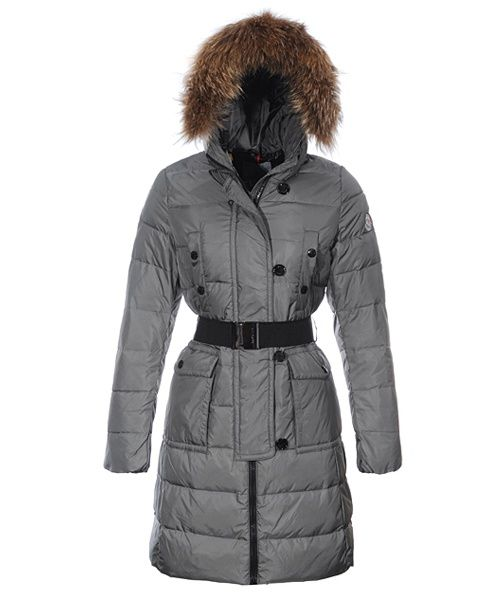 discount moncler clothing - Moncler Genevrier Women Coats Hooded Long Grey