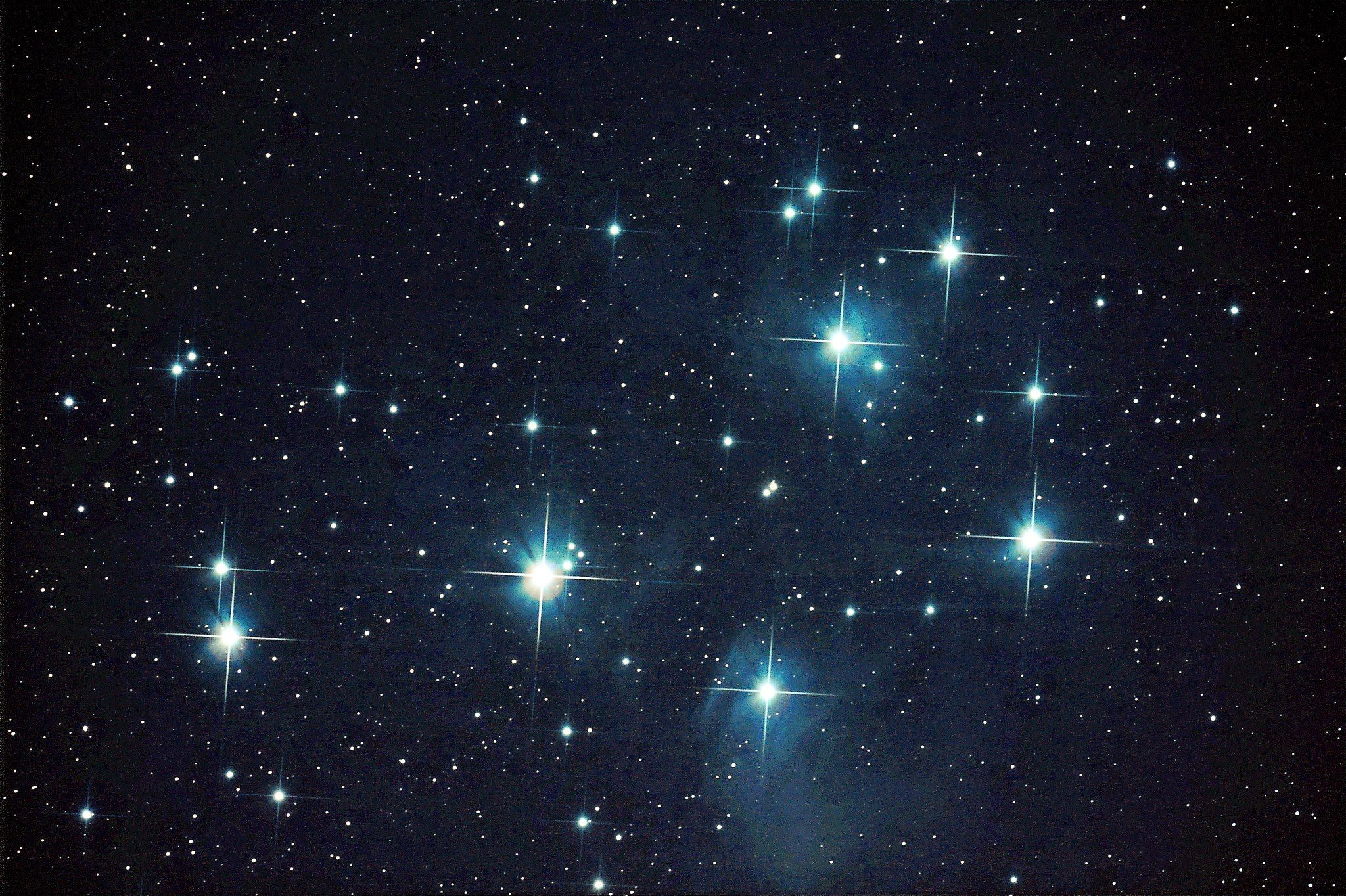 The Pleiades, an open star cluster in the constellation of Taurus.