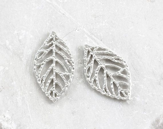 1827_Pendant 33х19.4 mm, Leaf pendant, Silver plated pendant, Silver findings, Light silver leaves pendant,Silver component for jewelry_4pcs