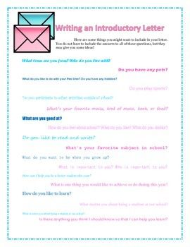 Writing An Introductory Letter  Activities And Students