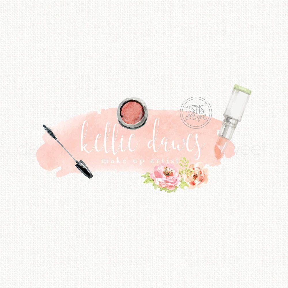 Make up artist logo beautician logo design watercolor logo