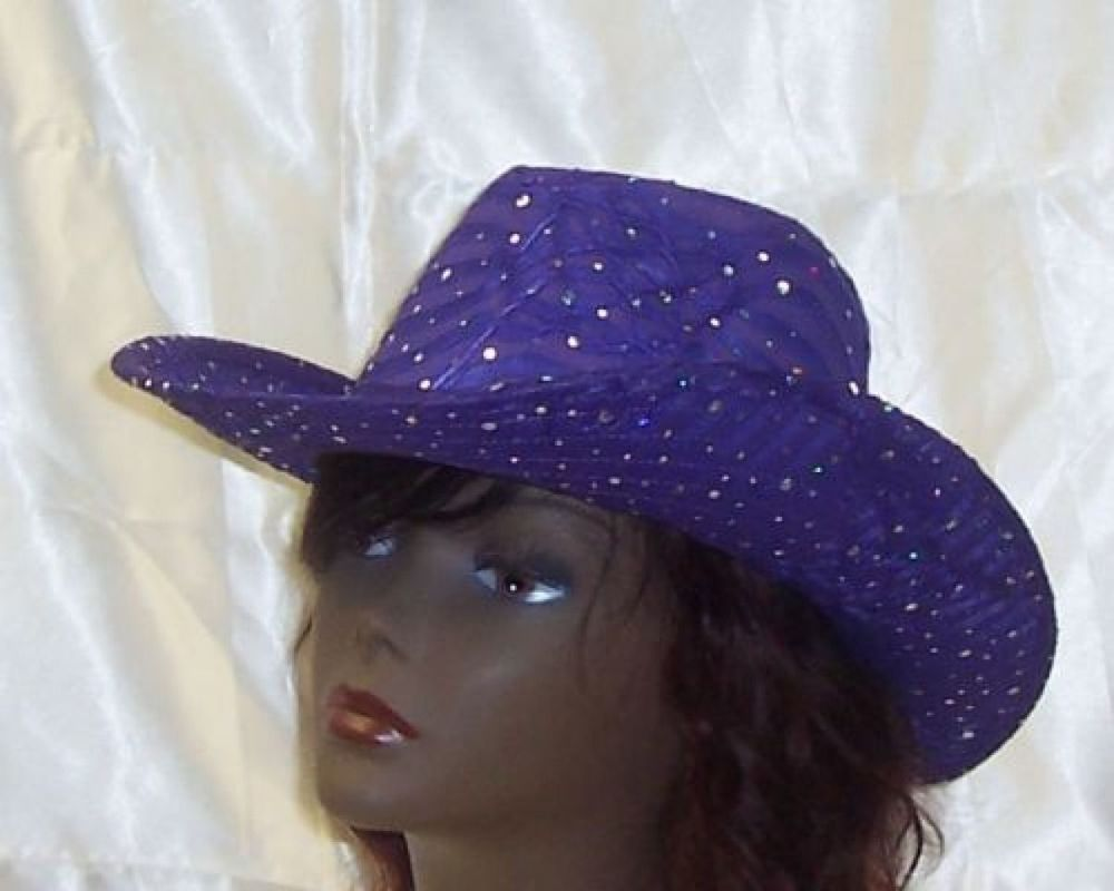 f51e104436db6 Details about Purple Cowboy Hat Sequin Western Glitter Cowgirl ...