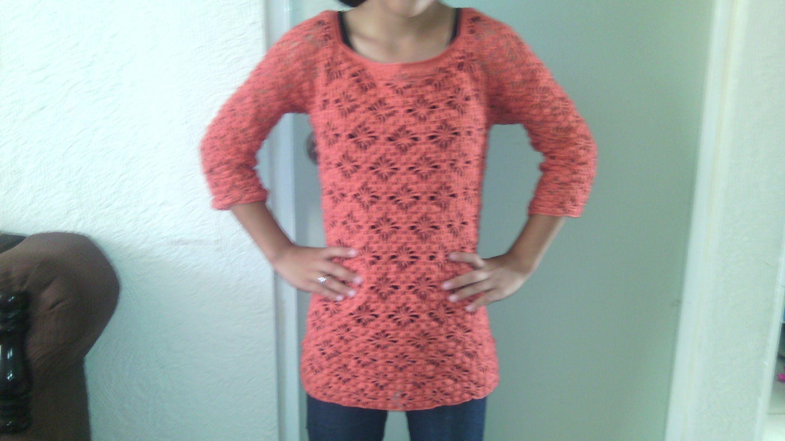 Como hacer una blusa de manga 3/4 en crochet paso a paso Tercera parte