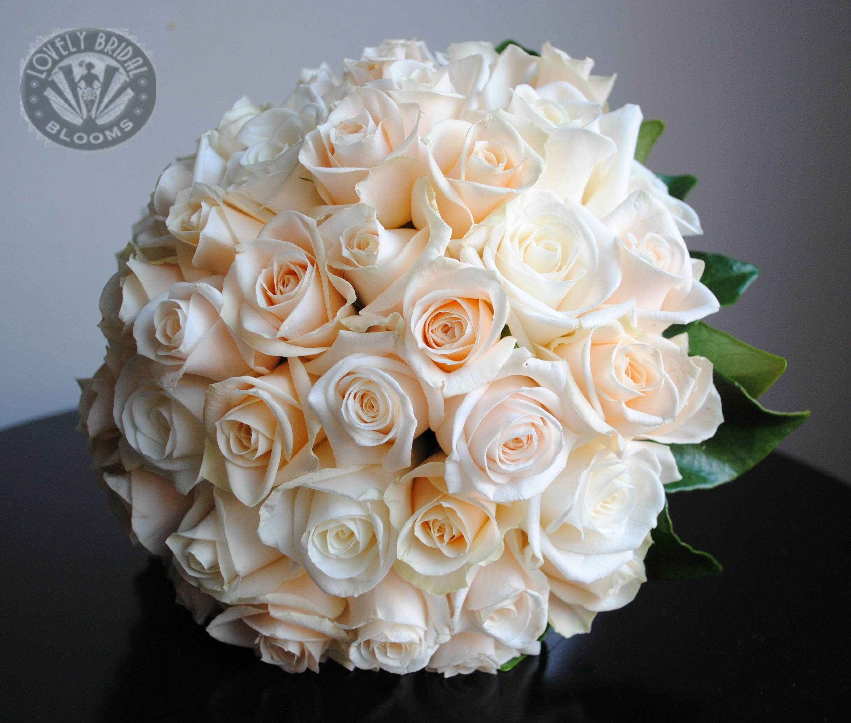 Ivory Off White And Champagne Roses Wedding Flower Bouquet