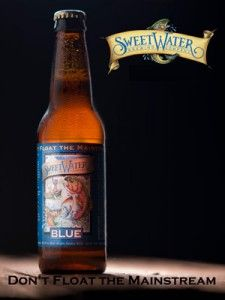 """Sweetwater Brewery's """"Blue"""" -- a light ale with a hint of blueberries. Awesome summer beer."""