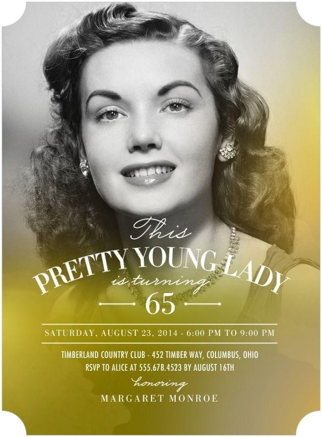 65th Birthday Invitations / Adult Birthday Party Invitations ...
