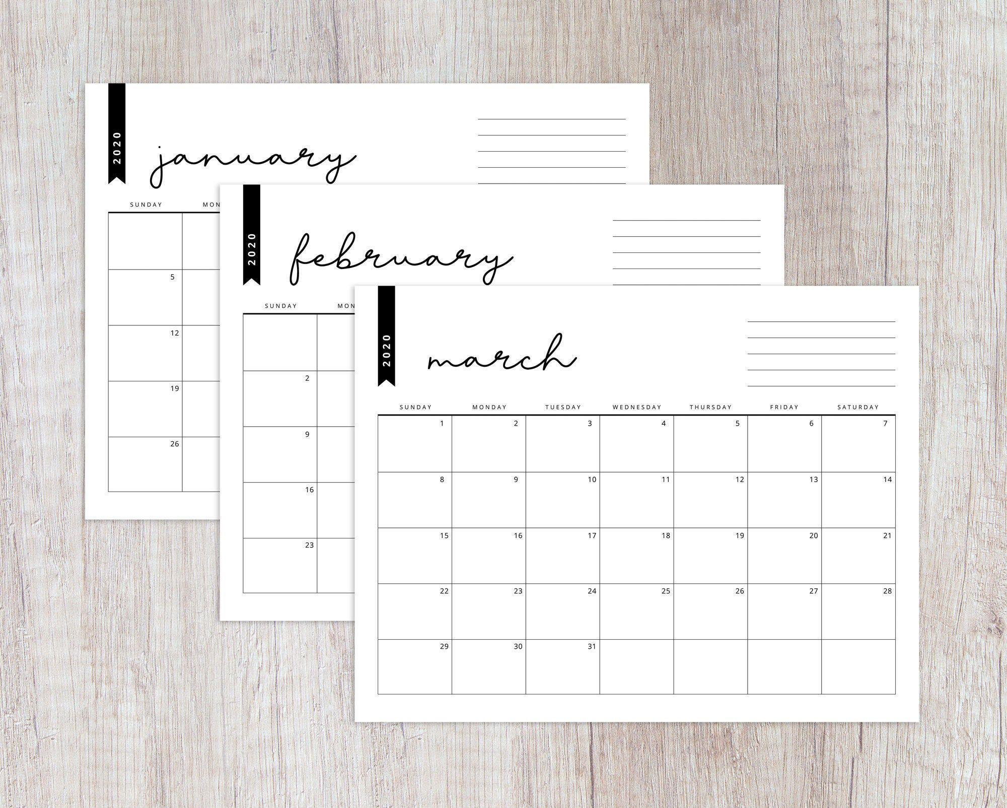 Printable 2020 Horizontal Calendar Letter Size Landscape Orientation Modern Calendar Minimalist Chic Calligraphic Calendar With Note Area Modern Calendar Minimalist Calendar Lettering