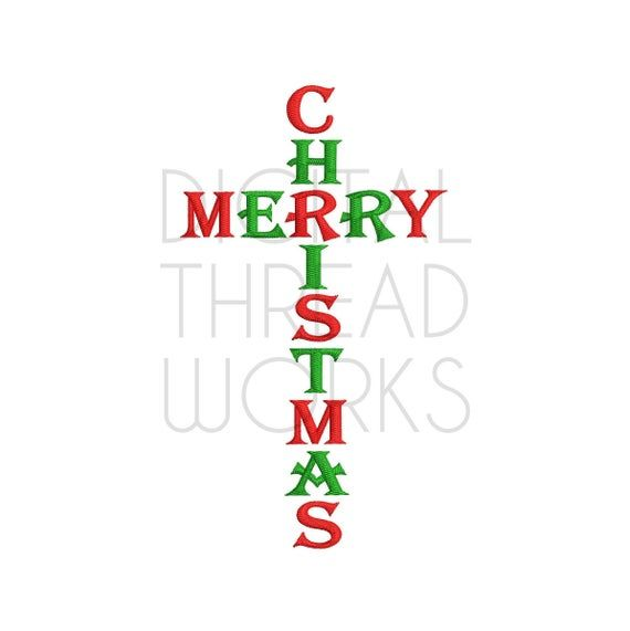 Merry Christmas Cross Machine Embroidery Design Instant Download for 4x4 5x7 and 6x10. Perfect for t