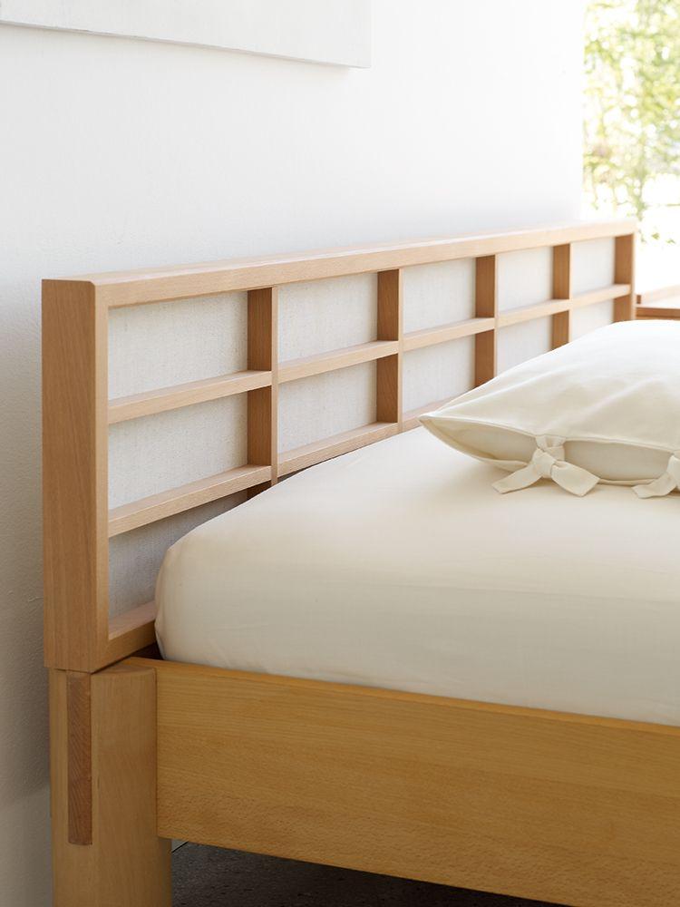 Ryokan Bett mit Betthaupt Höhe 83,4 cm Buche, 180x200x40