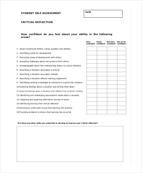 Image Result For Student Self Evaluation Examples  Integrated
