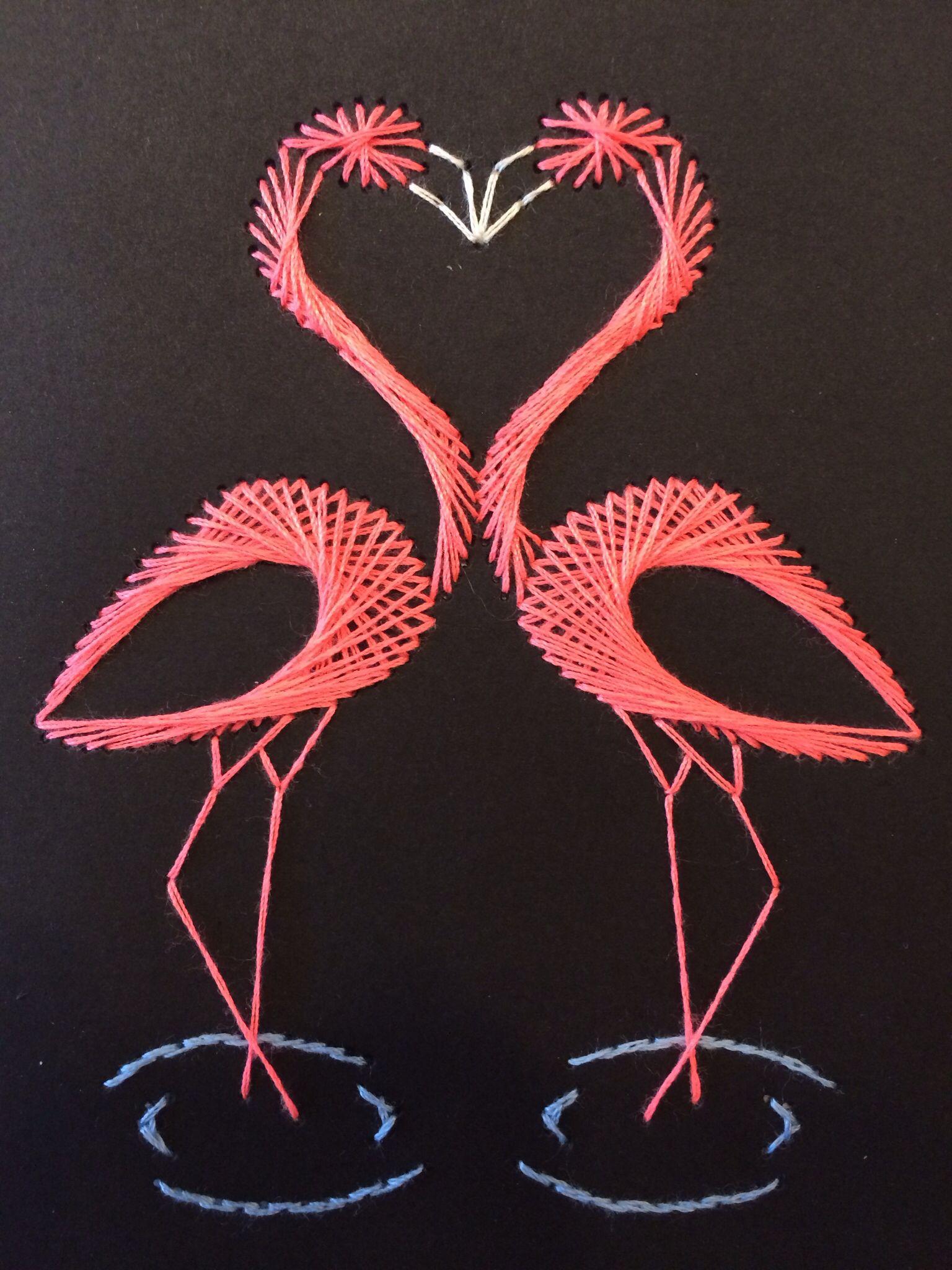 flamingo stitch card fadengrafik pinterest fadenkunst fadengrafik und selbermachen basteln. Black Bedroom Furniture Sets. Home Design Ideas