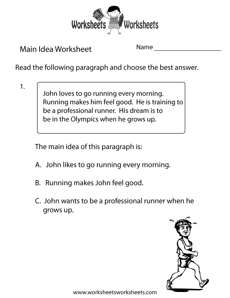 Main Idea Practice Worksheet Printable   Main idea worksheet [ 1035 x 800 Pixel ]