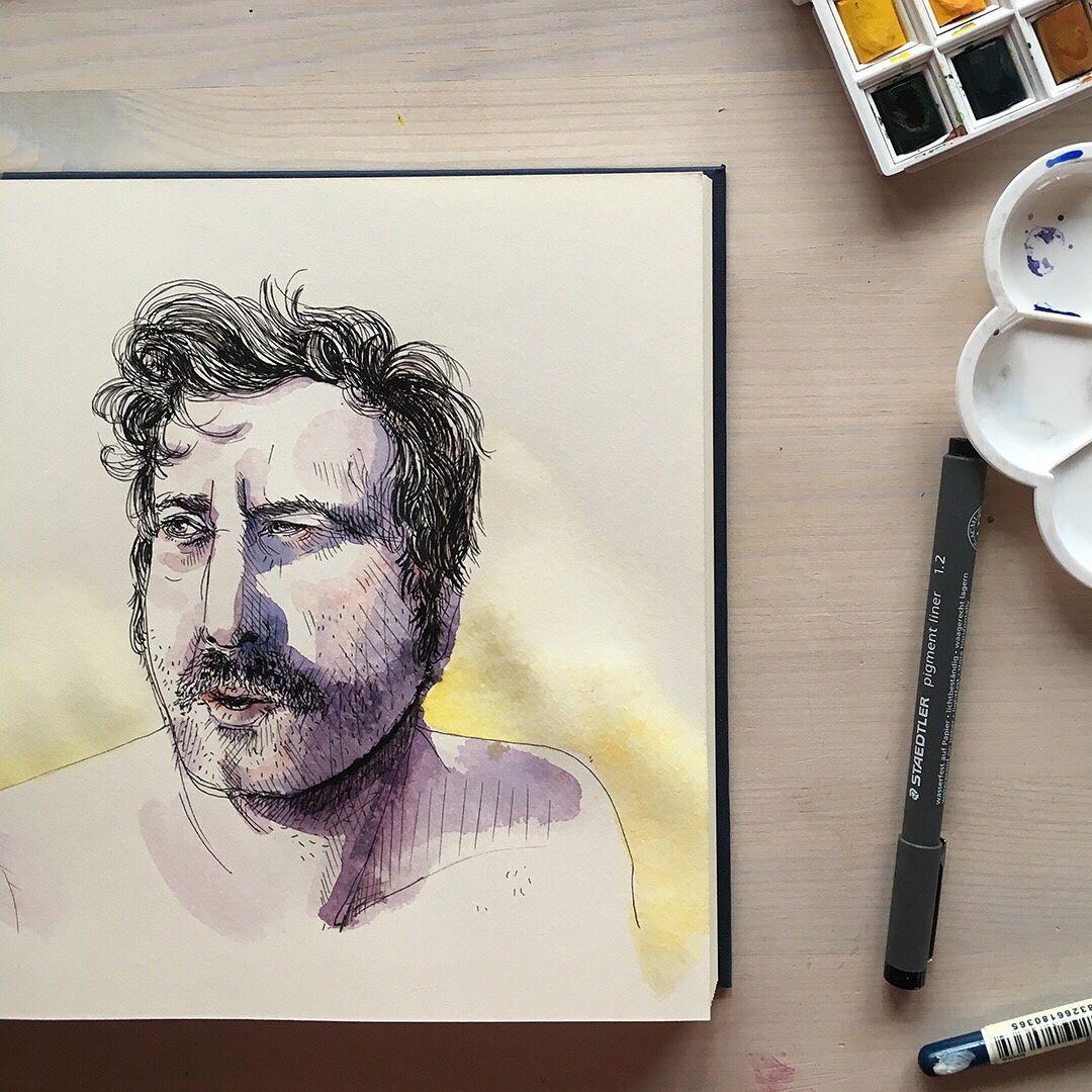 Skizzenbuch Portrait Mit Fineliner Marker Und Aquarell Farbe