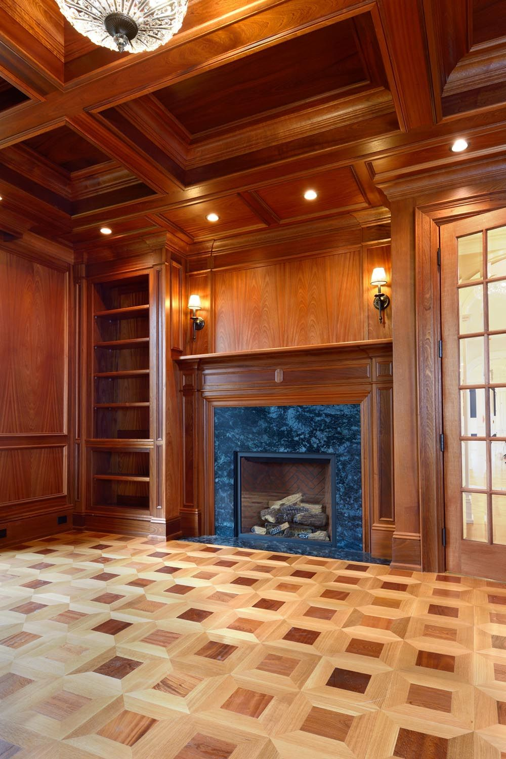 The Study Is Warmed With A Jungle Green Soapstone Hearthed Fireplace Encircled With Sapele Mahogany Panel Hardwood Design Fireplace Surrounds Mahogany Paneling