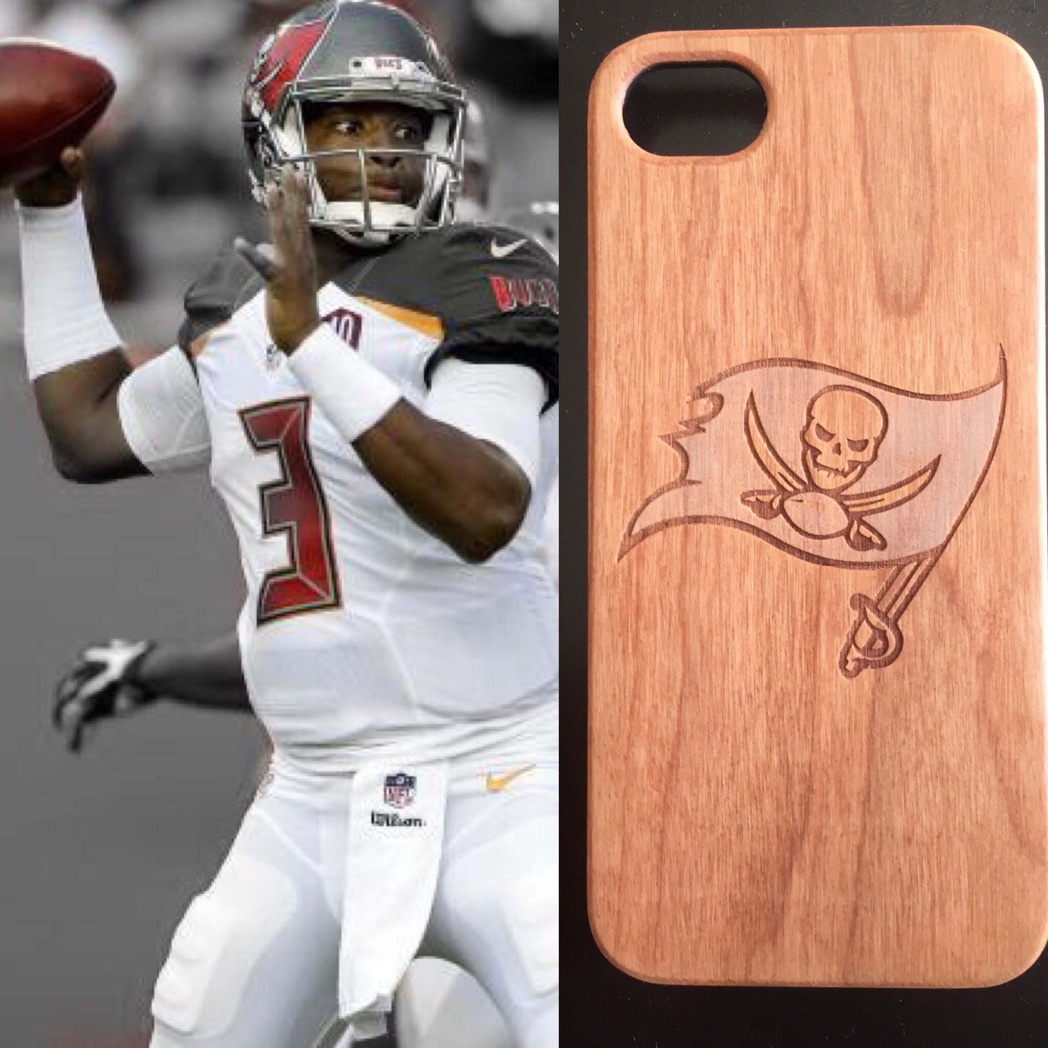 Cherry wood Tampa Bay Buccaneers' case