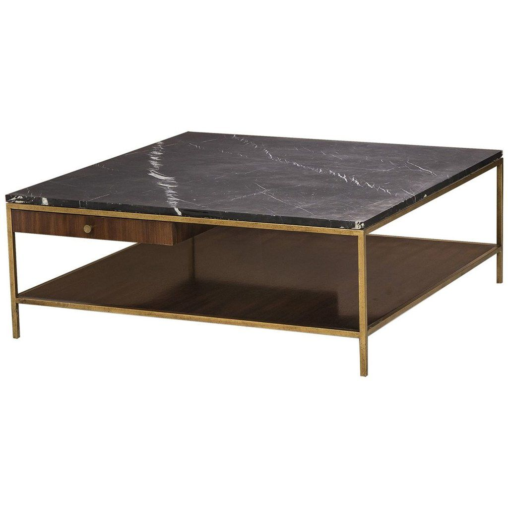 Maison 55 Copeland Coffee Table Large Square Tables Iron Frame Black Burkina Marble Top Walnut Veneers