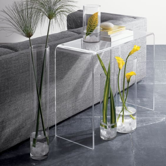 a lucite table is basically a blank canvas, I should be able to make it work. Peekabo lucite console, below, $379, CB2.com.
