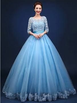 Sky Blue Long Gown With Sleeves Google Search Ball Gowns Ball Gown Dresses Gowns Dresses