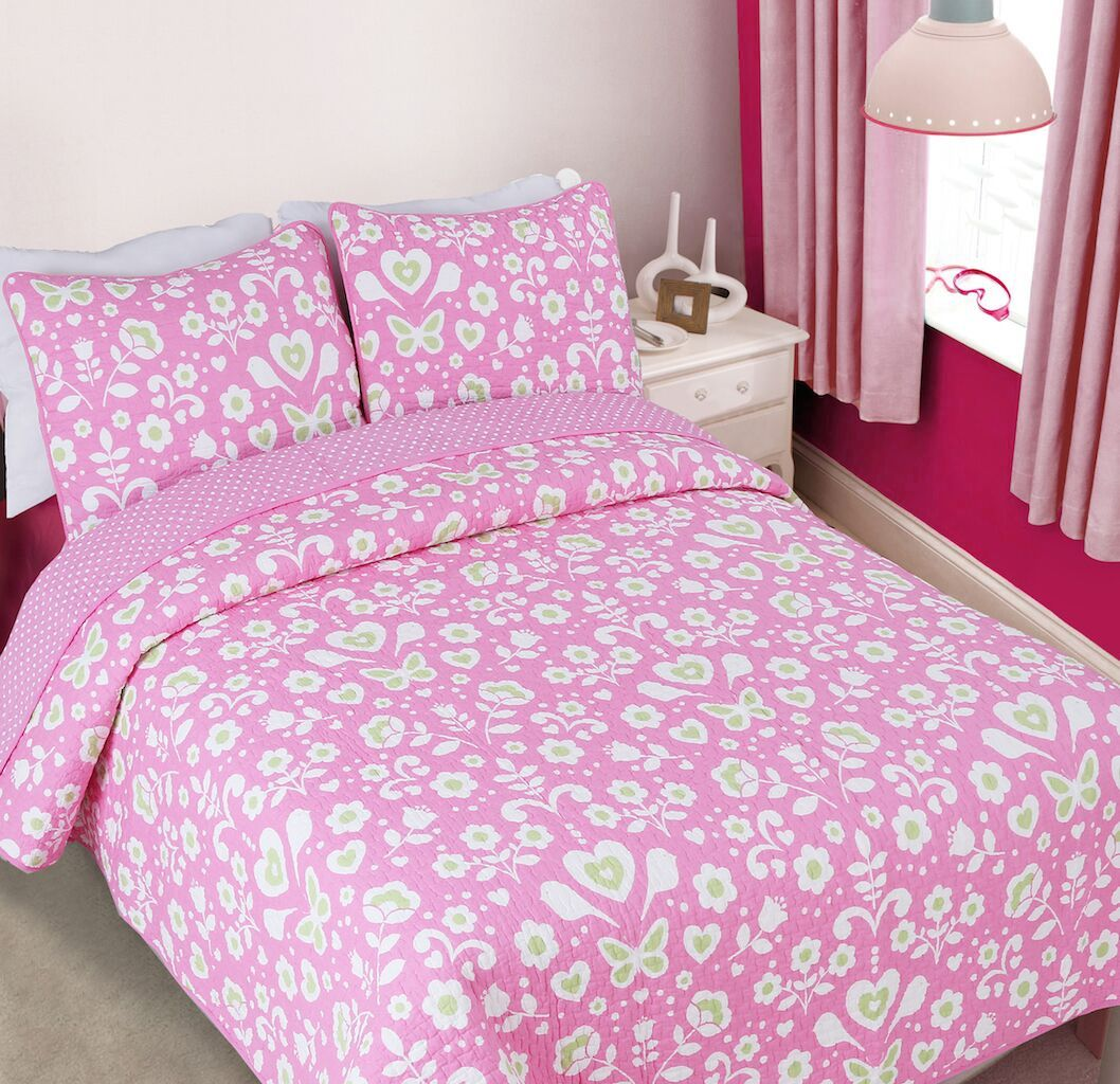 pink floral butterfly u0026 hearts bedding for girls twin fullqueen quilt set cotton bedspread
