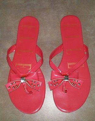3a309d2e8 ELLE Pink Coral Bow Gold Stud Thong Flip Flop Flat Sandels Women Size 9