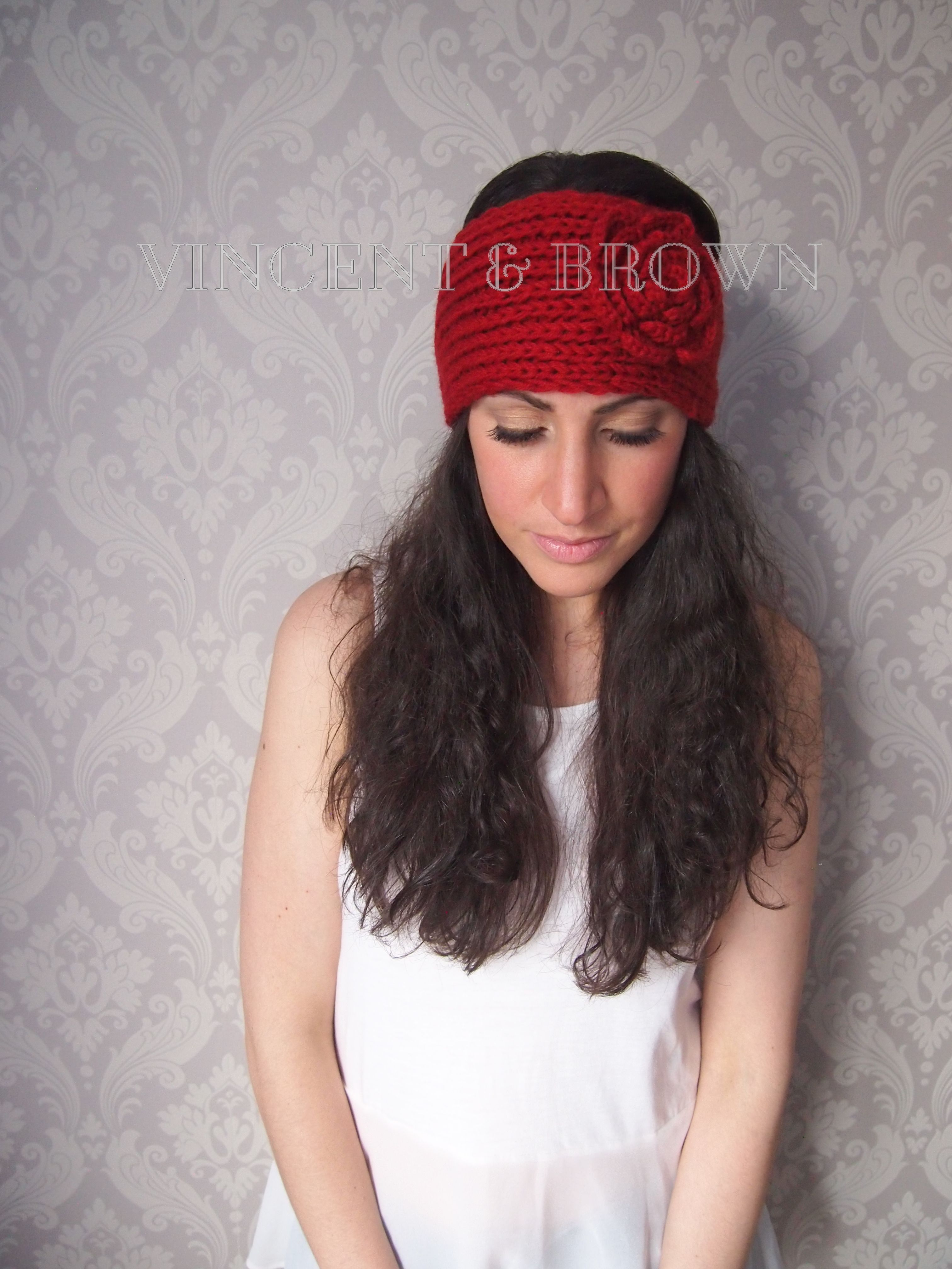 Roses are red - Headband - Red - Flower - Knitted - Rouge - Vincent -   -  Brown - Women - Accessories 7a8ad0dd2bb