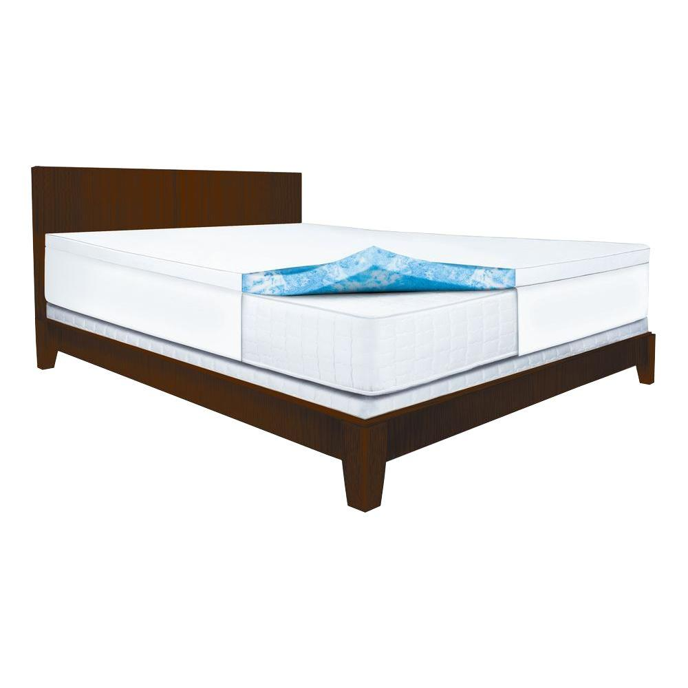 Sleep Innovations 2 5 In Queen Gel Memory Foam Mattress Pad Blue