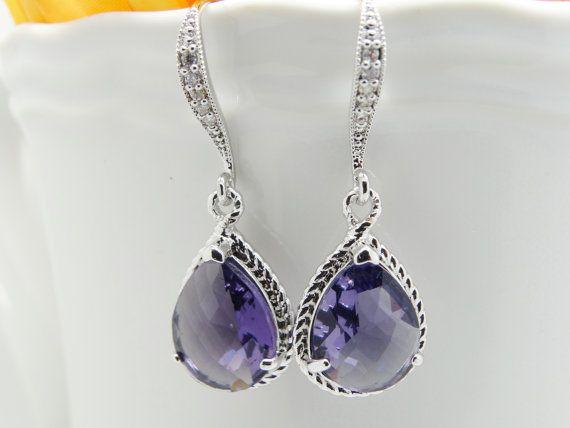 Amethyst Purple Earrings Teardrop Czech Gl By Mytinystarshining 26 00
