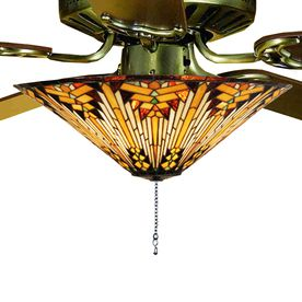 Meyda Tiffany 3-Light Nuevo Mission Ceiling Fan Light Kit with Tiffany-Style Stained Glass