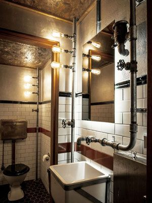 Ba o decorado e instalado con tuber as a la vista for Banos vintage industrial