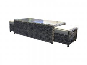 Ascot Rattan Garden Coffee Table With 2 Footstools In Truffle And Champagne Garden Sofa Set Garden Sofa Outdoor Sofa Sets