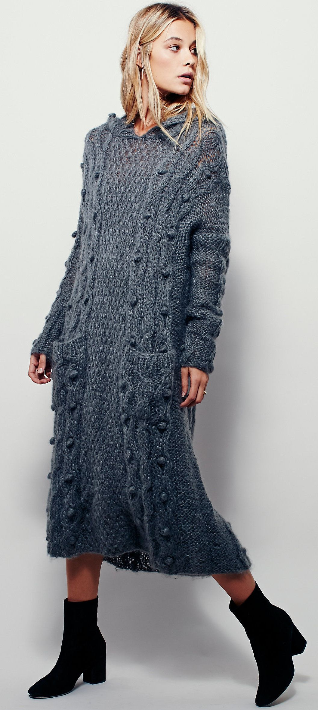 Mes Demoiselles Paris - handmade cable knit maxi hoodie sweater ...