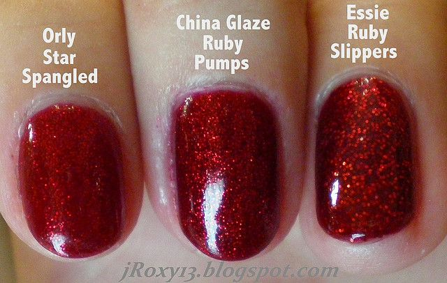 Ruby Red Glitter Comparison (Orly Star Spangled vs. China Glaze Ruby Pumps vs. Essie Ruby Slippers) by jRoxy13, via Flickr