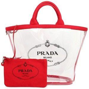f9811740a53034 Prada Women Logo Print Pvc Tote Bag W/ Canvas Pouch | 2 | Prada tote ...