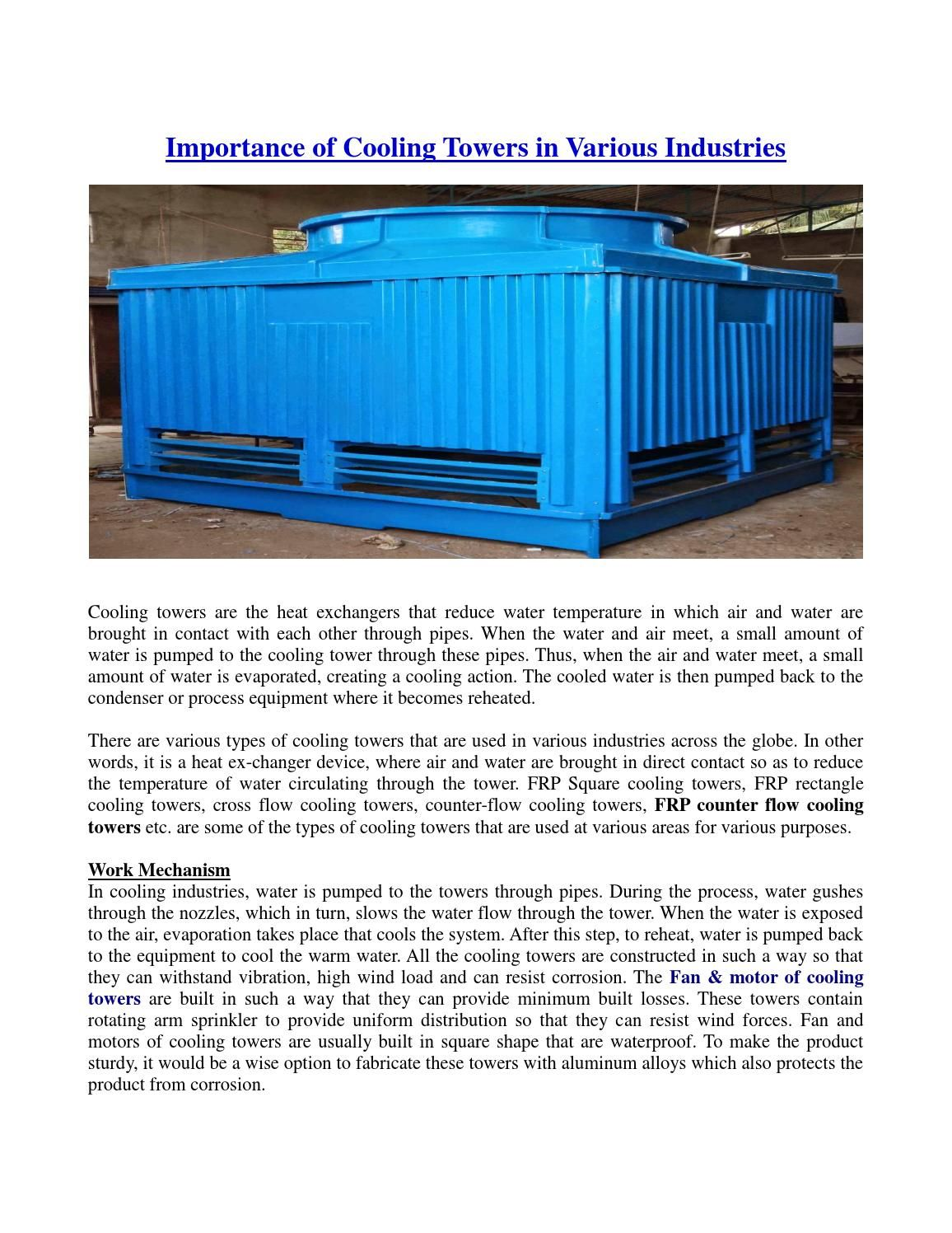 Importance Of Cooling Towers In Various Industries Cool Stuff Tower Cooling Tower