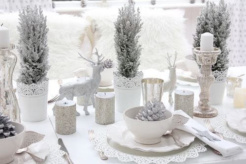 White Shabby Chic Table Decor Christmas Table Decorations White Christmas Decor Christmas Table